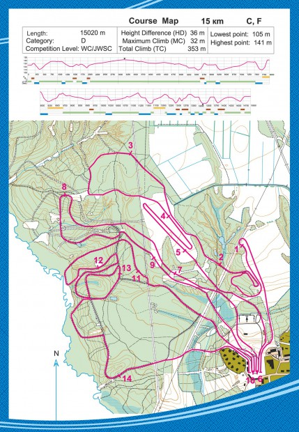 Course map - 15km C, F - Syktyvkar Smetanina Skiing Complex MWC 2015