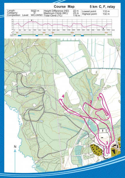 Course map - 5km C, F, Relay - Syktyvkar Smetanina Skiing Complex MWC 2015